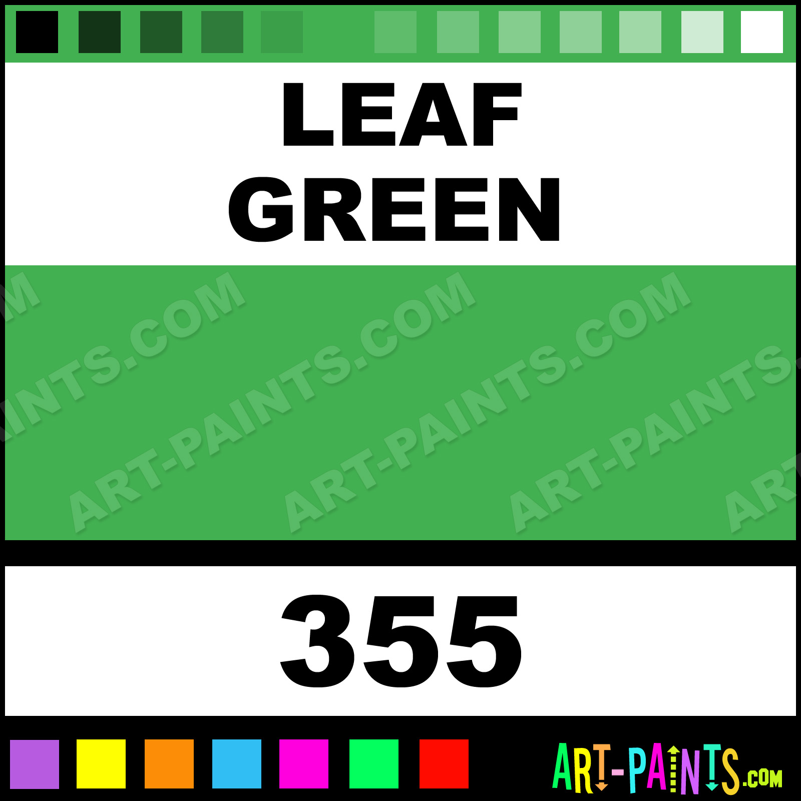 Leaf Green Student Watercolor Paints 355 Paint Color Aquafine 41b050 Art