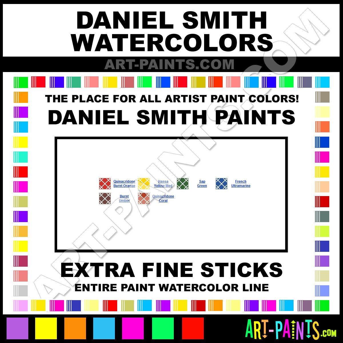 Coral Paint Color Chart Daniel Smith Extra Fine Sticks Watercolor Paint Colors Daniel
