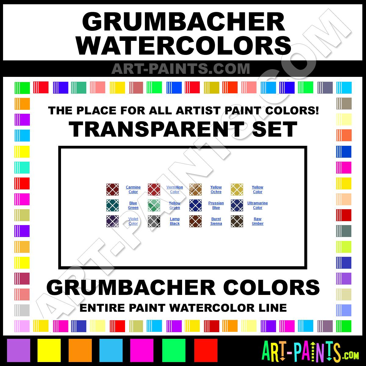 grumbacher transparent set watercolor paint colors grumbacher