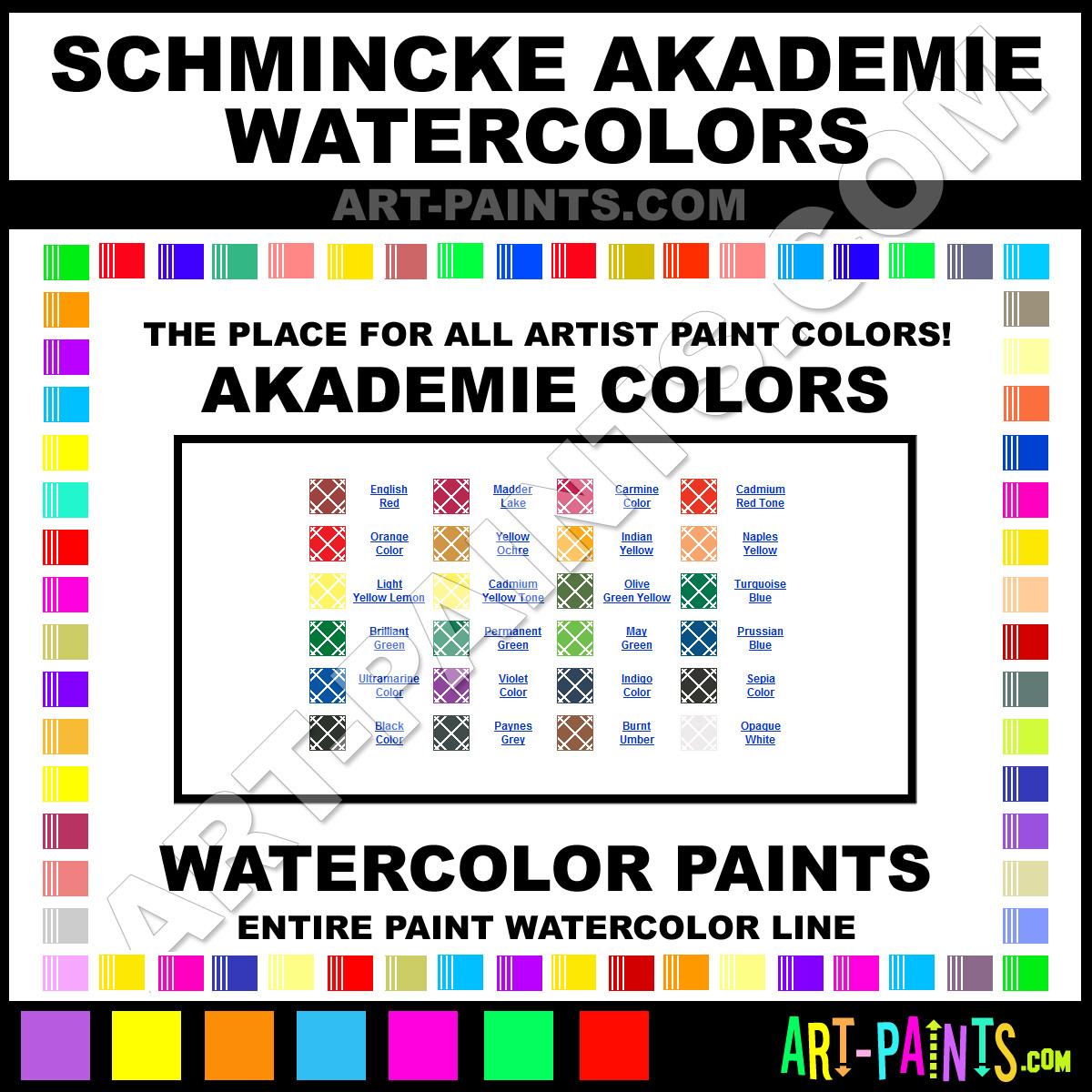 Schmincke Akademie Aquarell Watercolor Paint Colors