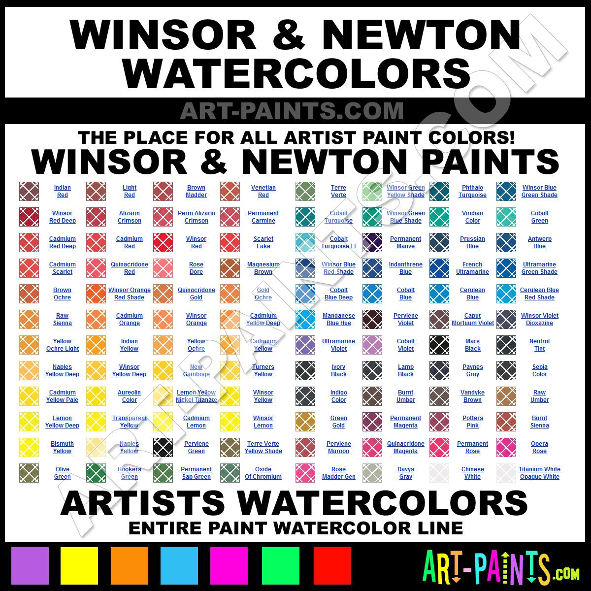 Folk art color chart acrylic paint - Winsor And Newton